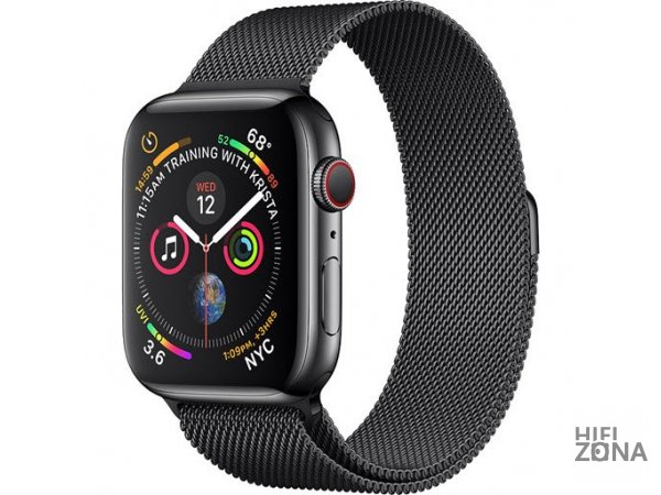 Часы Apple Watch S4 GPS + Cellular 44mm Stainless Black Case with Milanese Loop MTV62