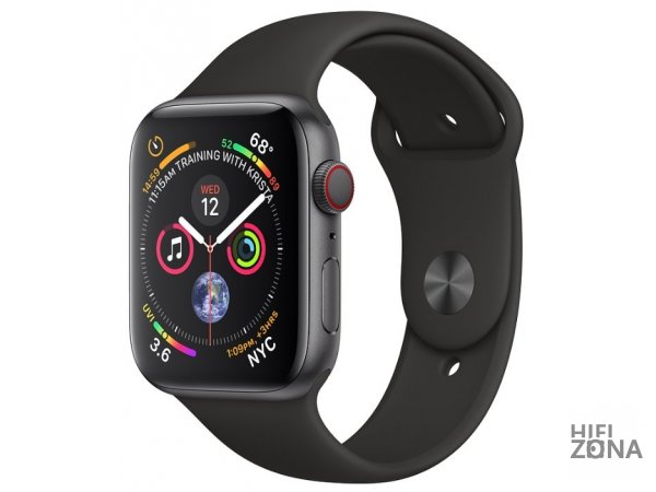 Часы Apple Watch Series 4 GPS + Cellular 44mm Stainless Black Case with Sport Band MTV52